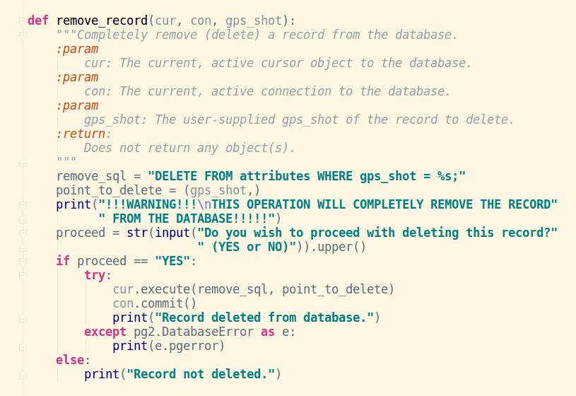 Delete existing record from PostgreSQL database with Python and